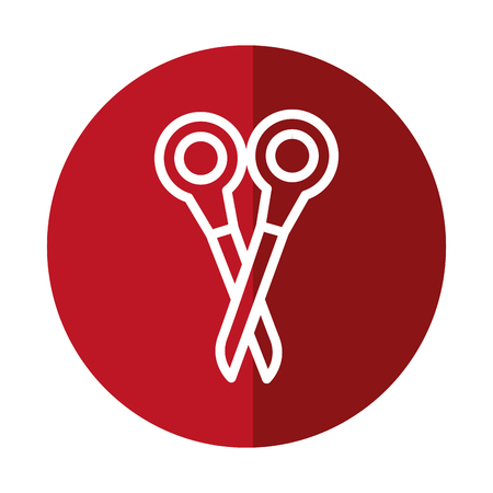 scissor tool icon over red circle and white background. vector illustration