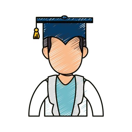 学生卒業キャップ アイコン白背景の上。カラフルなデザイン。ベクトル図  イラスト・ベクター素材
