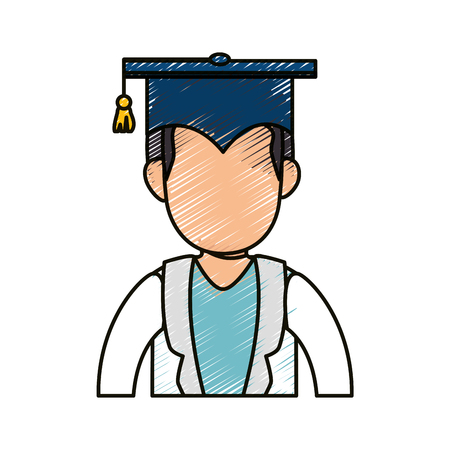 student with graduation cap icon over white background. colorful design. vector illustration