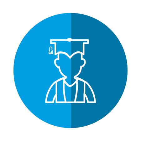 青い円と白い背景上卒業キャップ アイコンを持つ学生。ベクトル図  イラスト・ベクター素材