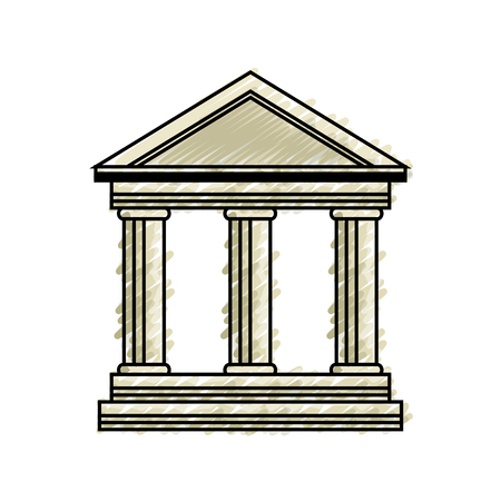 school building icon over white background. vector illustration