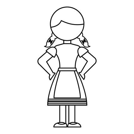 독일 소녀 문자 아이콘 벡터 일러스트 레이 션 디자인