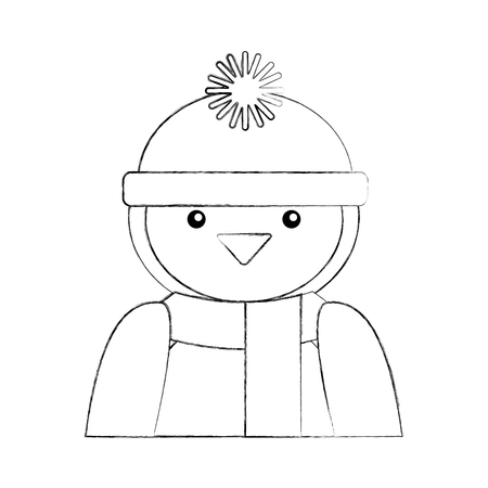 penguin with winter hat character vector illustration design