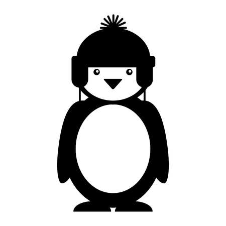 antarctica: penguin with winter hat character vector illustration design