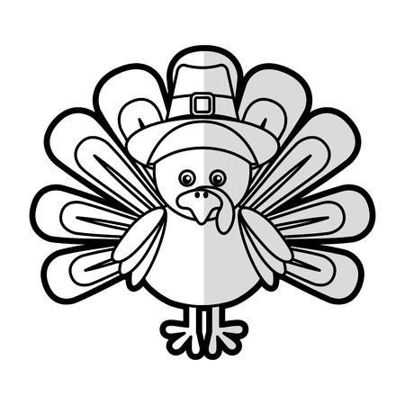 thanksgiving day symbol: Thanksgiving turkey character icon vector illustration design Archivio Fotografico
