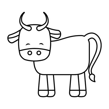 Cute ox manger character vector illustration design Illustration