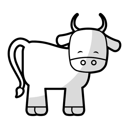 cute ox manger character vector illustration design