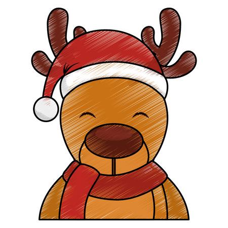 cute reindeer with santa claus hat vector illustration design Illustration