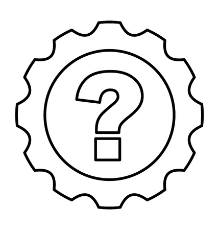machined: gear machine with question isolated icon vector illustration design