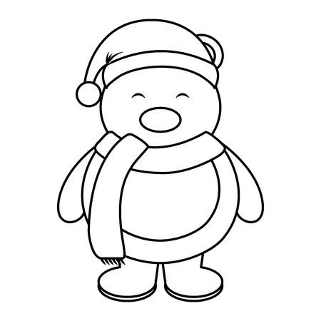 dangerous: polar bear with winter hat vector illustration design