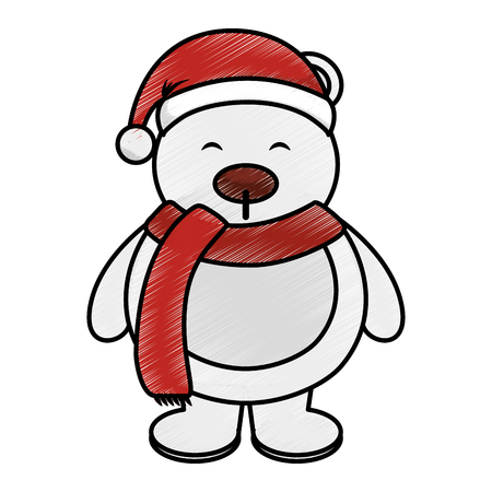 claus: polar bear with winter hat vector illustration design
