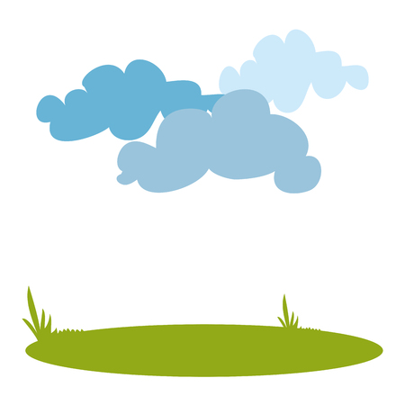 landscape with clouds over white background. colorful design. vector illustration
