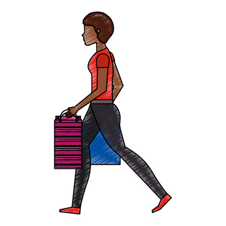 young woman with shopping bags vector illustration design Illustration