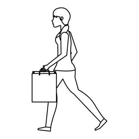 happy shopper: young woman with shopping bags vector illustration design Illustration
