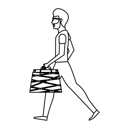 happy shopper: young man with shopping bags vector illustration design Illustration