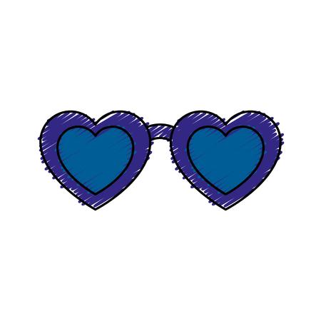 심장 모양 벡터 일러스트 디자인을 가진 안경
