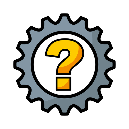 gear machine with question isolated icon vector illustration design
