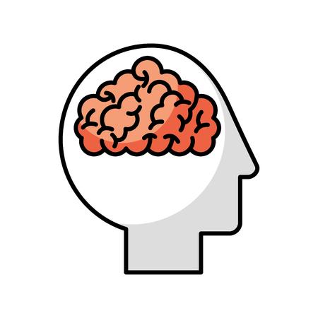 human head profile with brain vector illustration design