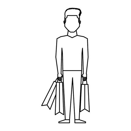 young man with shopping bags vector illustration design Illustration
