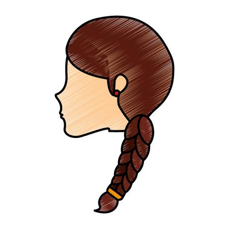 頭の若い女性のアイコン ベクトル イラスト デザイン  イラスト・ベクター素材