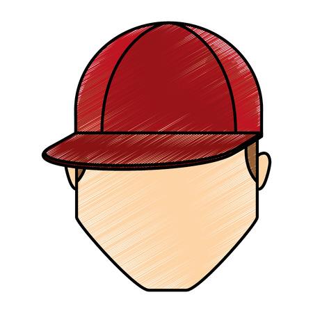 頭の若い男のアイコン ベクトル イラスト デザイン  イラスト・ベクター素材