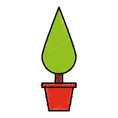 Decorative garden pot isolated icon vector illustration design
