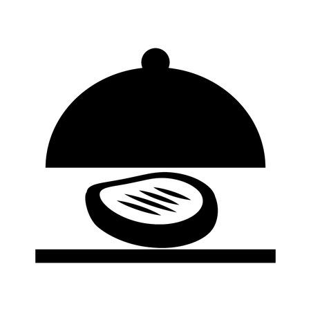 Serveur de plateau avec viande isolé icône vector illustration design Banque d'images - 76832956