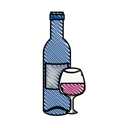 Wine bottle drink icon vector illustration graphic design Illustration