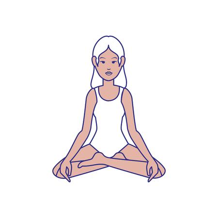 Woman yoga cartoon icon vector illustration graphic design