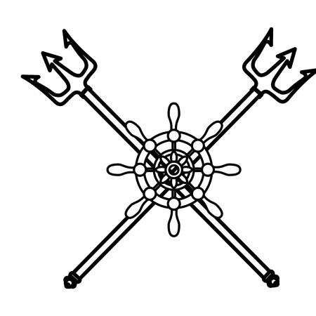 ruder: Steering ship boat icon vector illustration graphic design