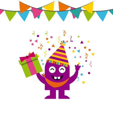 monster characters in birthday party vector illustration design Çizim