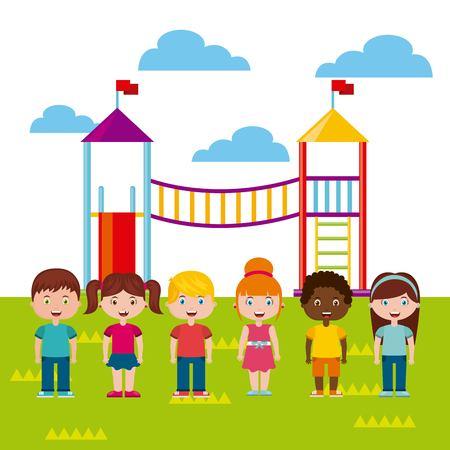 Belle Children`s aire de jeux avec les enfants jouant design illustration vectorielle Banque d'images - 76961249
