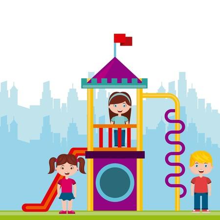 Belle Children`s aire de jeux avec les enfants jouant design illustration vectorielle Banque d'images - 76961495