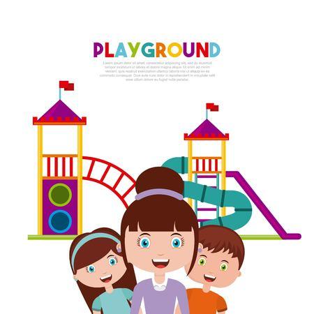 Belle Children`s aire de jeux avec les enfants jouant design illustration vectorielle Banque d'images - 76961501