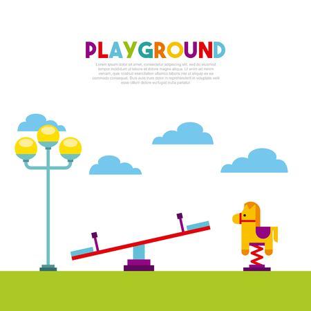 escuela infantil: Hermoso niños `s patio de recreo con niños jugando diseño de ilustración vectorial