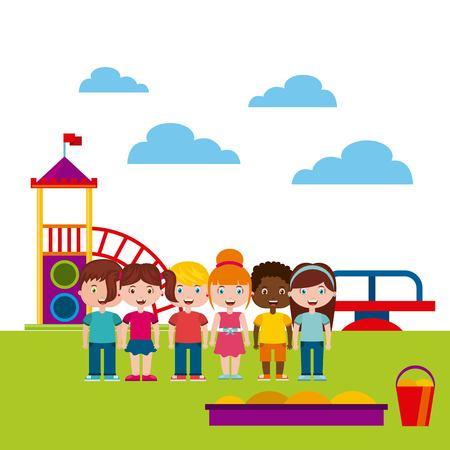 Belle Children`s aire de jeux avec les enfants jouant design illustration vectorielle Banque d'images - 76961508