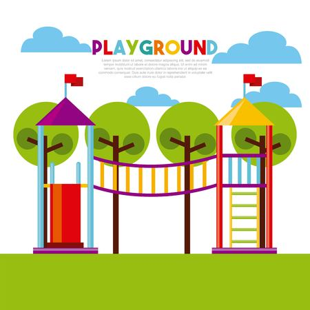 beautiful children`s playground with kids playing vector illustration design