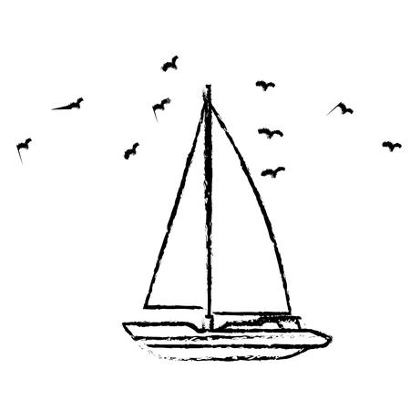 바다 배 전송 아이콘 벡터 일러스트 그래픽 디자인