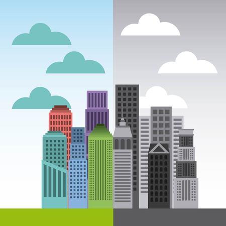 buildings cityscape skyline icon vector illustration design Illustration