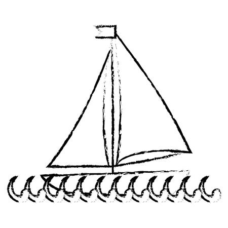Sea ship transport icon vector illustration graphic design Ilustração