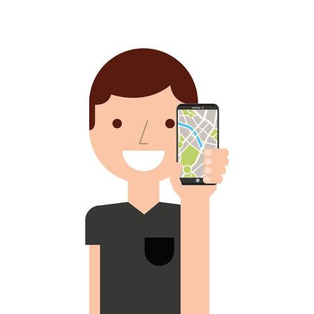 man using gps application vector illustration design