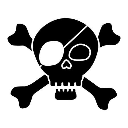 Pirate schedel symbool pictogram vector illustratie grafisch ontwerp