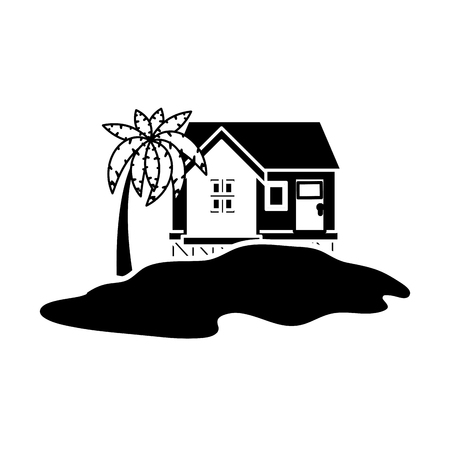 Island house draw icon vector illustration graphic design