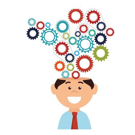 Businessman big ideas icon vector illustration graphic design