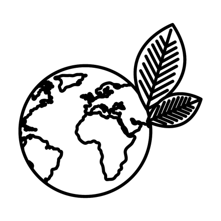 world planet with leafs vector illustration design