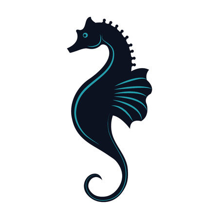 sea horse icon over white background. vector illustration 向量圖像