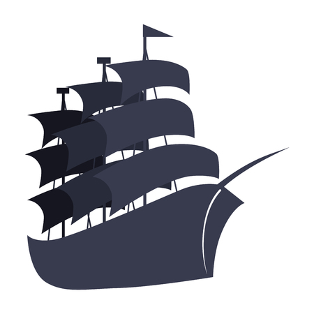 pirate ship icon over white background. vector illustration