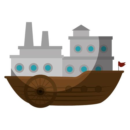 big ship icon over white background. vector illustration Ilustracja