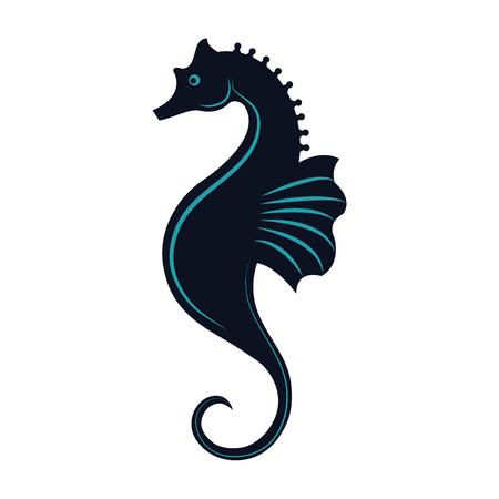 Sea horse icon over white background. Illustration