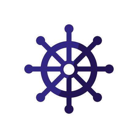 rudder wheel icon over white background. vector illustration Illusztráció